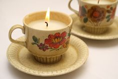 recycled teacup candles