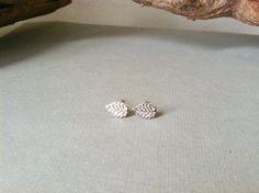 Sterling Silver Leaf Studs  earrings boho hippie by CoastalSoul, $15.00