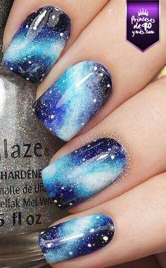 Galaxy Nails 25 Ideas to Paint Your Blue Nails for Fall - Nail Designs Beach Nail Designs, Acrylic Nail Designs, Cute Nail Designs, Pretty Designs, Galaxy Nail Art, Galaxy Galaxy, Nagellack Design, Beach Nails, Beach Nail Art