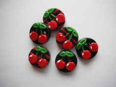 Button Black and Red Stripe Cherries handmade by digitsdesigns, $8.50
