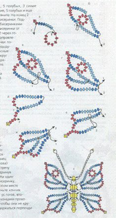 scheme of weaving beads blue butterfly Seed Bead Tutorials, Seed Bead Patterns, Beaded Jewelry Patterns, Beading Tutorials, Beading Patterns, Beaded Crafts, Beaded Ornaments, Seed Bead Jewelry, Bead Jewellery