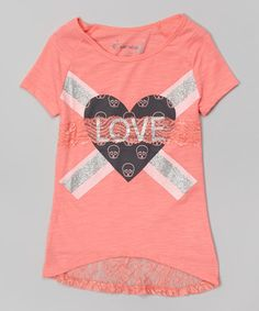 Love this Coral Heart 'Love' Lace-Back Tee - Girls on #zulily! #zulilyfinds