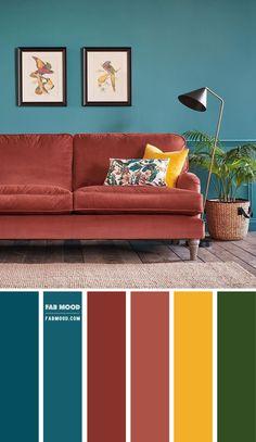 Teal Living Rooms, Living Room Orange, Living Room Decor Colors, Living Room Color Schemes, Living Room Designs, Sofa Colors, Teal Walls, Colorful Interiors, Home Interior Design