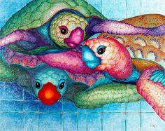"""Saatchi Art Artist Lisa Benoudiz; Painting, """"Turtle tangle"""" #art"""