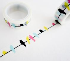 Single roll of washi tape with colorful birds on a line pattern. Great for travel journals, scrapbooking, gift wrapping, decorating cards and envelopes and more! Add a little dash of cuteness to any c Bujo Inspiration, Bullet Journal Inspiration, Washi Tape Diy, Masking Tape, Washi Tapes, Deco Tape, Scrapbook Journal, Colorful Birds, Exotic Birds
