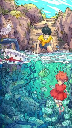 A very cool Ponyo wallpaper : ghibli Dessin danimation Japonais Totoro, Art Studio Ghibli, Studio Ghibli Movies, Japon Illustration, Digital Illustration, Art Illustrations, Animes Wallpapers, Cute Wallpapers, Aesthetic Art
