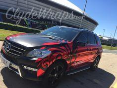 red chrome satin black car wrap