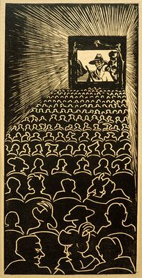 Escher, line drawings of audience. This is really cool.