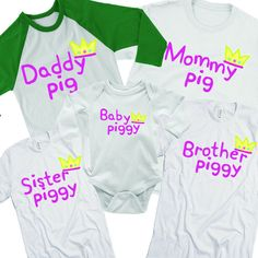 0df0890e4 Piggy Family Shirts. Matching Pig Shirts. Custom Family Tees. Matching  Outfits. Your Text Here