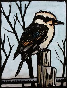 Kookaburra Linocut Print