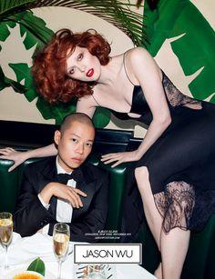 Karen Elson y Jason Wu en la campaña SS14 de Jason Wu, fotografiada por Inez van Lamsweerde y Vinoodh Matadin
