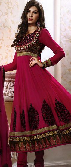 Dark #Pink Faux Georgette #Churidar Kameez @ $92.92