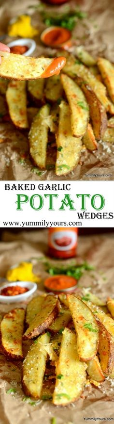Garlic-Parmesan BAKED Potato Wedges... No one can just one, can they? I sure can't! :)