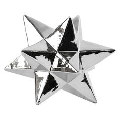 Urban Trends Ceramic 12 Point Stellated Icosahedron Sculpture Silver - 12570