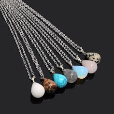 Drop Charm Necklaces - Natural Gemstones. Item Type: NecklacesLength: 45cm+5cmShape\pattern: Water DropGender: WomenMaterial: StoneChain Type: Link Chain
