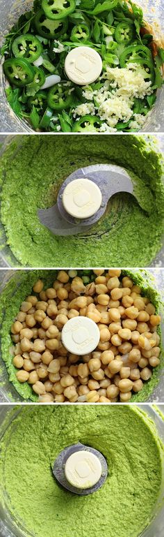 Spicy Green Hummus: This easy healthy homemade hummus adds a little kick to the New recipes Easy Healthy Recipes, Healthy Drinks, Healthy Snacks, Vegan Recipes, Cooking Recipes, Juice Recipes, Detox Drinks, Hummus Food, Hummus
