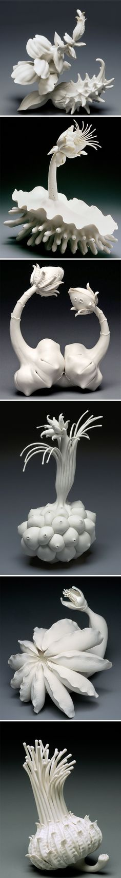 "Suess was still alive, I think he'd have a huge collection of these porcelain ""plants""! This the whimsical, wonderful work of New Jersey based artist Lindsay Feuer. Ah, nature through the beauti Organic Sculpture, Sculpture Clay, Sculptures, What Is Contemporary Art, Polymer Clay Kunst, Organic Art, Artwork Images, Paperclay, Ceramic Flowers"
