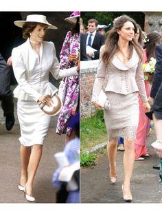 Princess Diana :  At Royal Ascot in 1986.  Kate Middleton : At a wedding in May 2010...