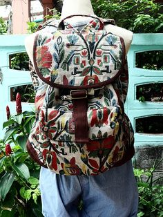 Smart  Backpack   Fashion   design  Flower  Colorful  Art. $27.00, via Etsy.