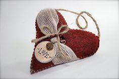 Felt Heart Decoration Dark Red Love by primitiveseason on Etsy