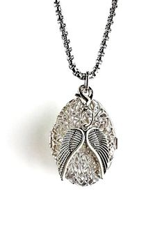 diffuser necklace Locket Angel Wings by Earthinwirejewelry on Etsy