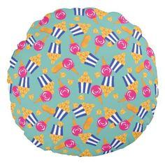 Colorful Circus Treats Ice Cream Popcorn Peanuts Round Pillow - patterns pattern special unique design gift idea diy
