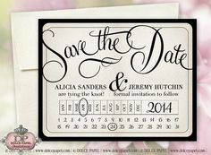 Modern Vintage Ivory Metallic 5x7 Save The Date Wedding Cards