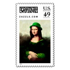 St Patrick's Day - Lucky Mona Lisa Postage. Make your own business card with this great design. All you need is to add your info to this template. Click the image to try it out!