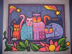 SALE Fun Crazy Cat Cross Stitch  165x13 by shibadesigns on Etsy,