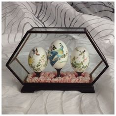 3 Vintage Chinese Hand Painted Eggs on Pedestals in Hexagonal Glass Case, Peacock, Birds and Flowers by BoBisBitsofVintage on Etsy