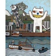 Monkey vs. Cat Art Print | Matthew Porter Art