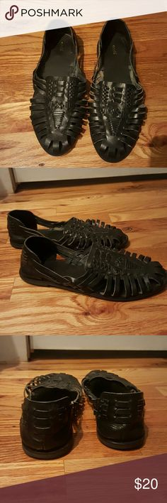 Bohemian leather slip ons Ecot? black leather strap pyramid slip ons. Barely worn. Feel free to ask any questions, respond quickly! ecot? Shoes Flats & Loafers