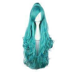 Harajuku Style Cosplay Synthetic Wig Karneval Iva Long Wavy Wig(Green)