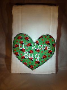 Heart Burp Cloth, Valentine's Day Bling, Valentine's Day,  Baby  Personalized Burp Cloth, Custom Burp cloth. $11.00, via Etsy.