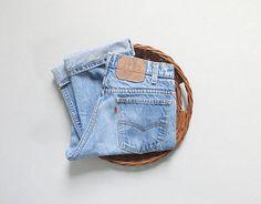 vintage bleached & faded levis orange tab jeans / 30 x 28
