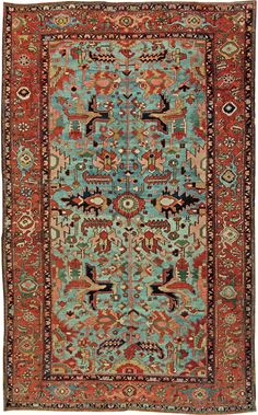 "A Persian Heriz rug Size: 12'1"" x 7'7"" Circa:1930 An early 20th century Persian Heriz rug. Price: $18,000"
