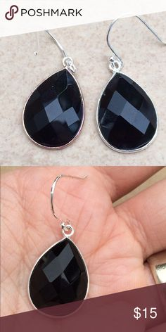 Silver Plated Genuine Black Agate Drop Earrings BJ's Jewelry Earrings