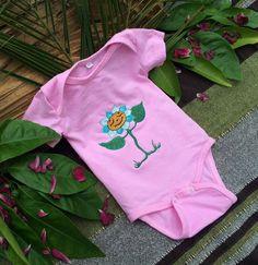Baby Onesie. Baby Girl. Handmade Embroidered - Happy Flower for your newborn girl by ElimiDesign on Etsy https://www.etsy.com/listing/232991918/baby-onesie-baby-girl-handmade