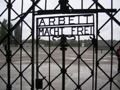 """""""Work brings freedom"""" Dachau Concentration camp. One of the saddest and haunting places I've been."""