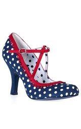 Found on the Tiger Milly website.SALE UK 3, 4 & 5 Ruby Shoo Polka Dot Dorothy Shoes Navy Blue,£31.49.Uploaded onto Pinterest December 2015.