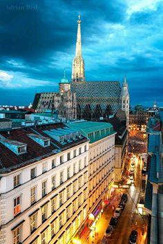 Vista de la ciudad de Viena y la Catedral de San Esteban.
