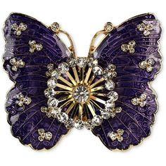 Jones New York Brooch Gold-Tone Crystal Purple Butterfly Pin ($12) ❤ liked on Polyvore featuring jewelry, brooches, butterflies, accessories, pins, pin brooch, crystal jewellery, butterfly jewelry, purple brooch and wing jewelry