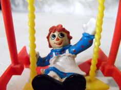 SALE RARE 1988 Raggedy Ann on Swing Fast Food Toy Give Away MacMillian Inc Old Miniature Collectible Available now via Orphaned Treasures Etsy