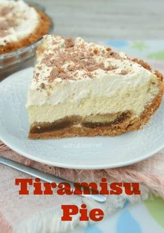 """This Tiramisu Pie is silky smooth and extra special with a moist """"extra"""" crust and makes the best dessert or tea-time treat ever !my favorite dessert Pie Dessert, Cookie Desserts, Easy Desserts, Delicious Desserts, Dessert Recipes, Yummy Food, Italian Desserts, Yummy Treats, Sweet Treats"""
