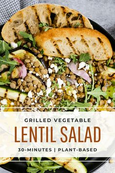 Lentil Salad Recipe with Feta and Grilled Vegetables Healthy Summer Recipes, Healthy Salads, Lentil Salad Recipes, Vegetarian Side Dishes, Main Dish Salads, Grilling Recipes, Weeknight Recipes, Salad Dressing Recipes, Grilled Vegetables