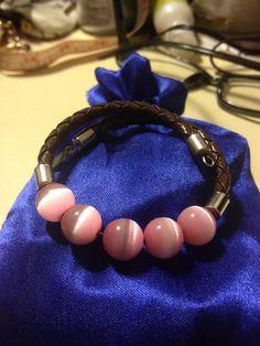 8 Pink Opal Leather Wrap Bracelet Handmade Shashi by BargainBitz, $20.00