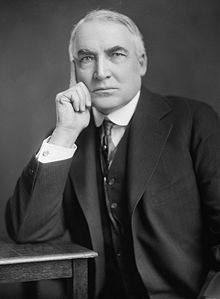 "Warren Gamaliel Harding (1865 –1923) was the 29th President of the United States (1921–1923). A Republican from Ohio, Harding was an influential self-made newspaper publisher. His ""America first"" campaign encouraged industrialization and a strong economy independent of foreign influence. Harding departed from the progressive movement that had dominated Congress since President Theodore Roosevelt."
