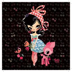 """CARTE simple """"Jolies cerises"""" - Betty & Cie par Lilidoll - 14 x 14 cm"""