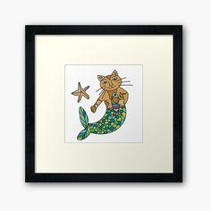 'Cute Mermaid Purrmaid cat' Framed Print by Framed Art Prints, Canvas Prints, Cute Mermaid, Off Colour, Box Frames, Iphone Wallet, Duvet Covers, Print Design, My Arts