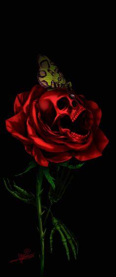 Skull rose n butterfly Dark Fantasy, Fantasy Art, Skull Rose Tattoos, Totenkopf Tattoos, Skull Pictures, Skull Artwork, Skull Drawings, Skull Wallpaper, Sugar Skull Art